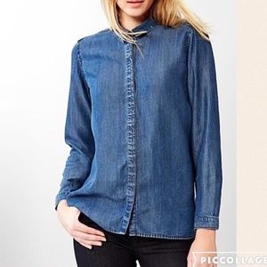 Gap Blue Tencel Denim Long Sleeve Button Down